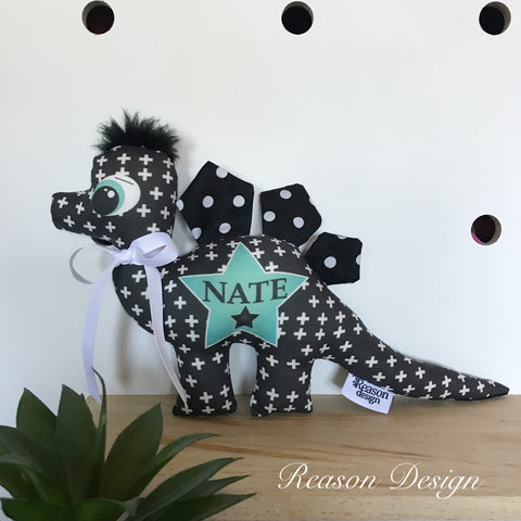 Personalised black polka for dinosaur
