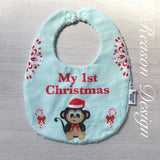 My 1st Christmas monkey bib