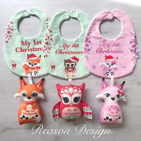 My first Christmas bib and Rattle gift sets