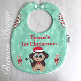 Personalised monkey Christmas bib