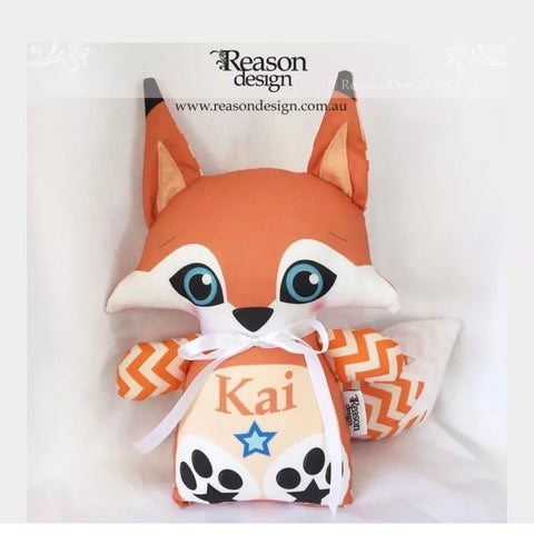 Orange chevron fox personalised