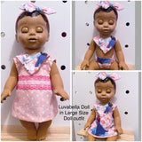 Luvabella Doll reversible dress bib nappy headband