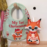 My first Christmas bib and Rattle orange fox