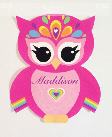 Personalised Rainbow Owl wall Decal
