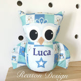 Blue patchwork personalised owl