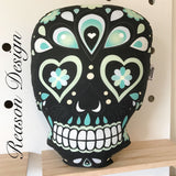 Black sugar skull cushion