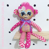 Personalised pink chevron and polka dot monkey