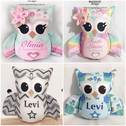 Personalised 22cm Owl toy girls/boys