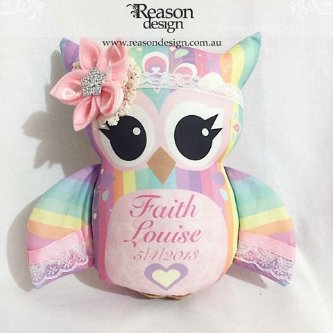 Pastel Rainbow personalised owl with elastic flower headband