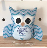 Blue chevron personalised owl