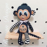 Personalised black chevron and polka dot monkey