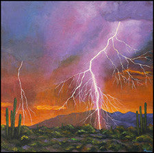 lightning desert cactus arizona southwest painting harris art print