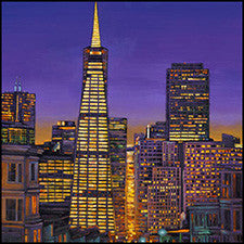 san francisco night painting transamerica building