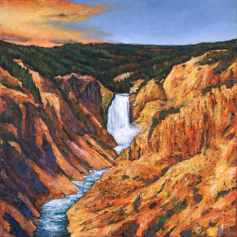 Contemporary Painting of Lower Falls at Yellowstone National Park Southwest Landscape Art Print Johnathan Harris