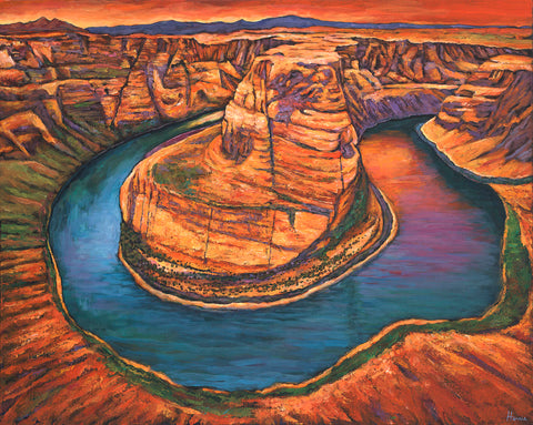 Contemporary Horseshoe Bend Arizona Desert Southwest Landscape Art Print Johnathan Harris