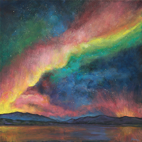 Night Lights Acrylic Painting on Canvas by Johnathan Harris Northern LIghts
