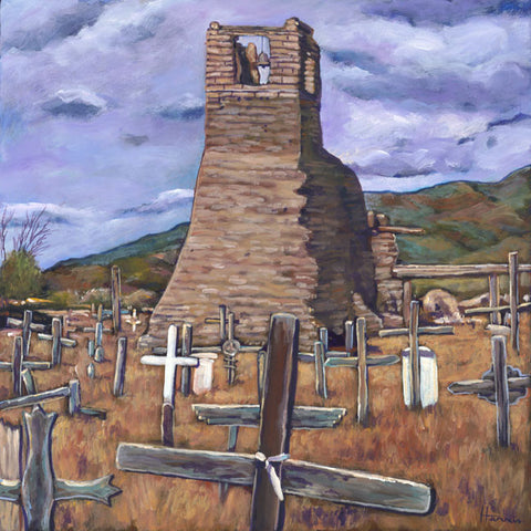 Old Taos Mission Southwestern painting by Johnathan Harris