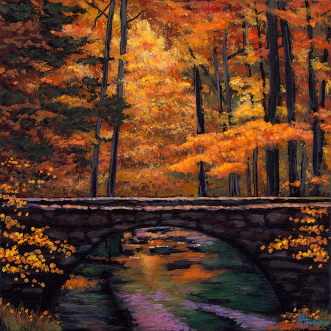 Ozark Stream Autumn Landscape Art Johnathan Harris