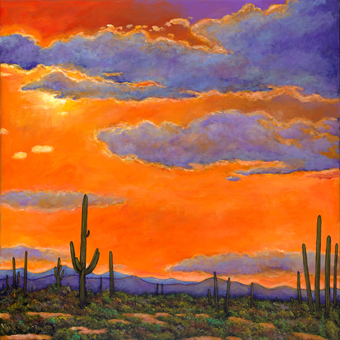 Saguaro Sunset Arizona Cactus Southwest Art Johnathan Harris