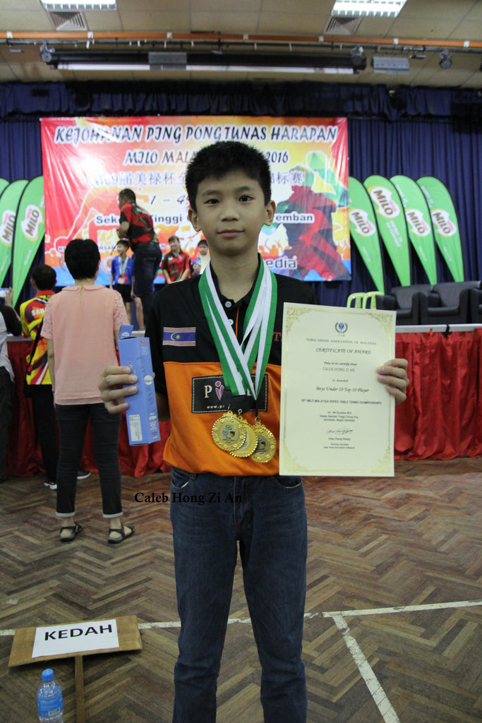 Caleb Hong Zi An - 3 Gold Medals Under 10 Team, Singles, Doubles