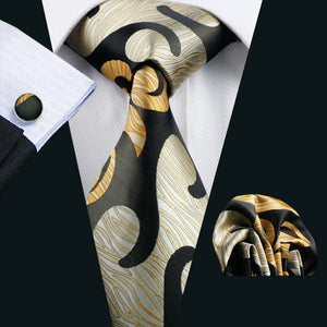 Multi Coloured Abstract Patterned Men's Tie, Pocket Squares & Cufflinks Set.