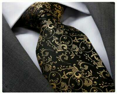 Black and Gold Brocade and Silk Men Tie