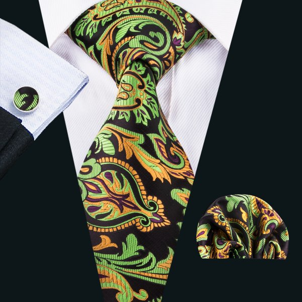 Black, Orange Gold & Green Fern Patterned Men's Tie, Pocket Squares & Cufflinks Set.