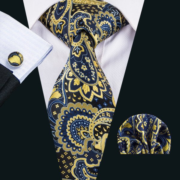 Yellow, Blue and Black Paisley Men's Tie, Pocket Squares & Cufflinks Set.