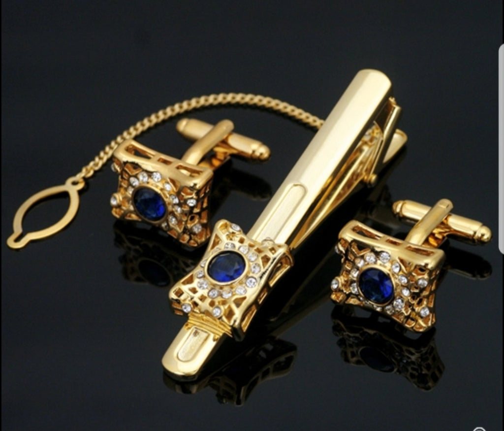 Stone crusted Gold plated Tie Clip Pin & Cufflinks