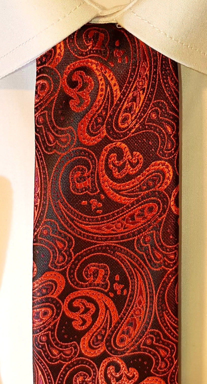 Wine Red Paisley Neck Tie and Pocket Square