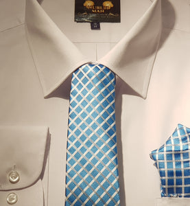 Blue and Silver Tie with Pocket Square
