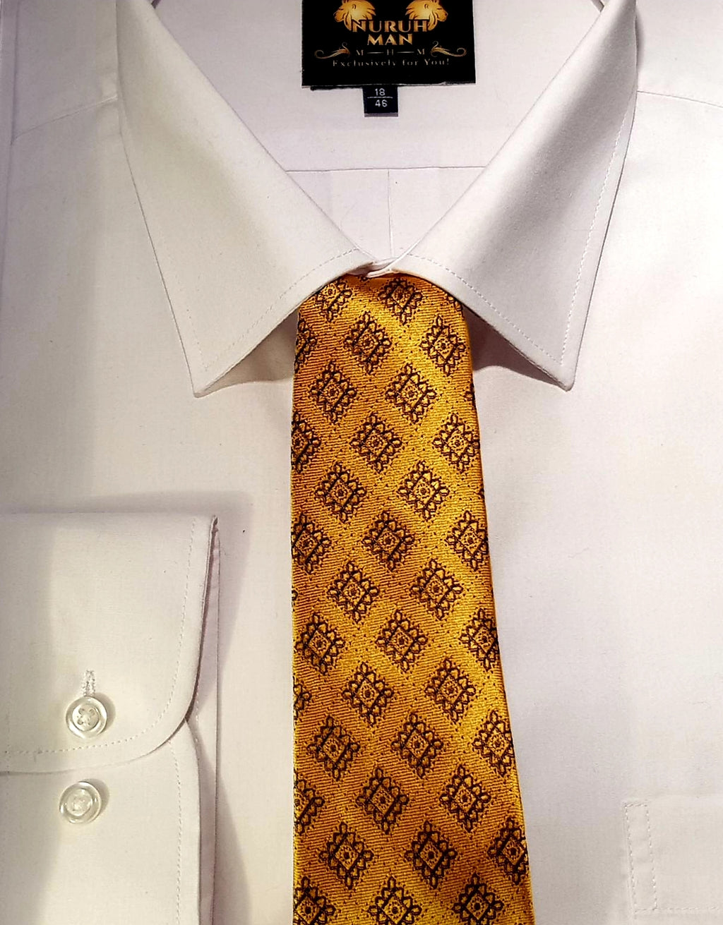Bold Gold Patterned Men's Single Tie
