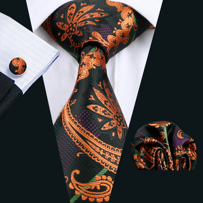 Black & Bronze Regal Paisley Patterned Men's Tie, Pocket Squares & Cufflinks Set.