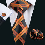 Black, Orange and Brown Striped Men's Tie, Pocket Squares & Cufflinks Set.