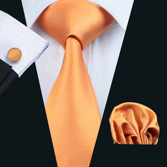 Soft Plain Orange Gold Silk Tie, Pocket Squares & Cufflinks Set.