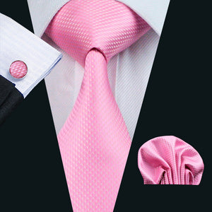 Rich Plain Pink Men's Tie, Hanky & Cufflinks Set. .