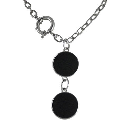 Double Onyx Pendant on Cable Chain