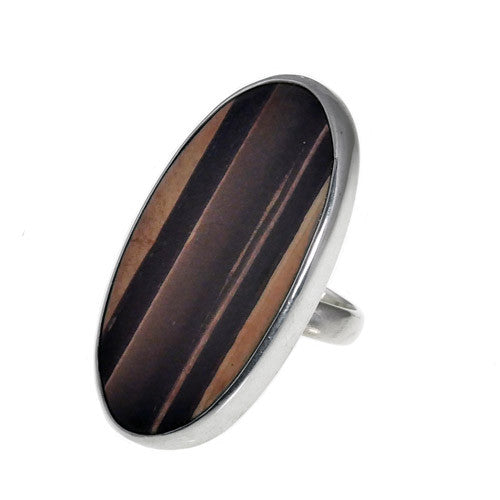 Zebra Rock Oval Ring