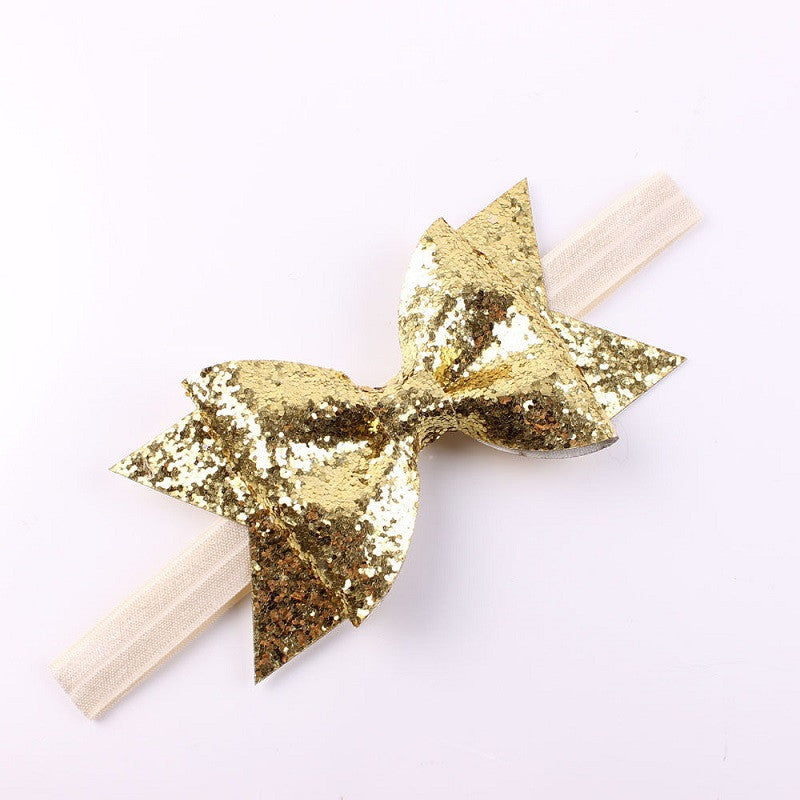 Glitter Bow Headband-Gold