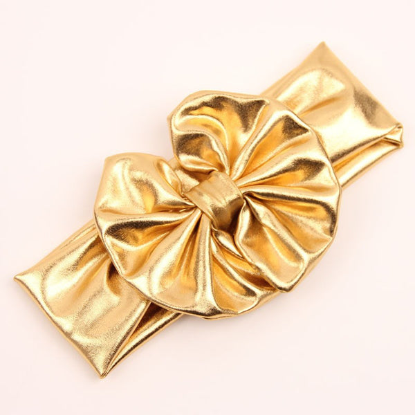 Metallic Messy Bow Headwrap-Gold