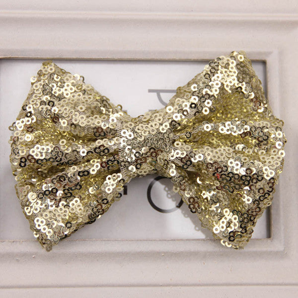 Sequin Bow Clip-Gold