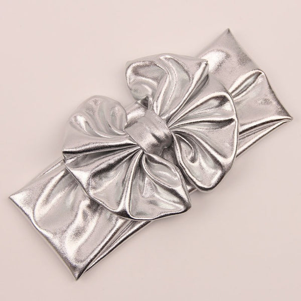 Metallic Messy Bow Headwrap-Silver