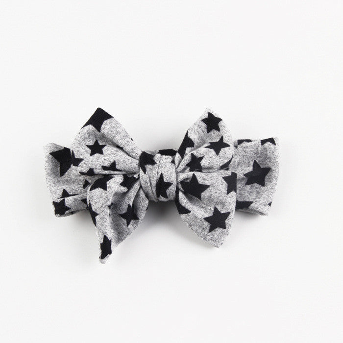 Stars and Bow Headwrap-Gray