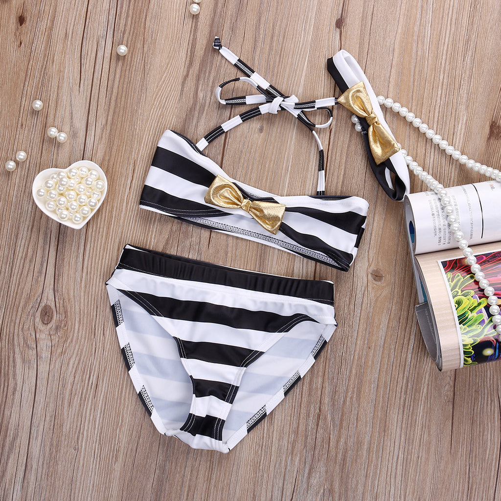 Stripes and Bow Swimsuit Set