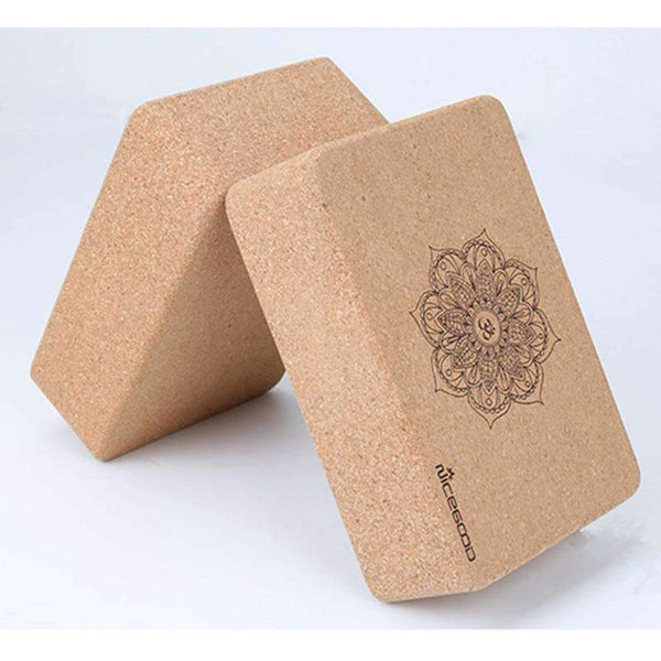 2 Pcs Natural Cork High Density Non-slip Yoga Block.