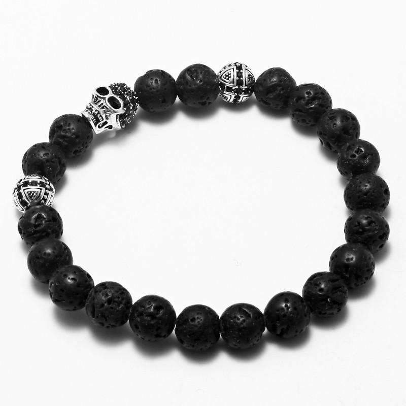 Ancient Silver Skull Beaded Bracelet- An Addition to Your Punk Yoga Jewelry Collection - Ultimate Yoga Bliss, Yoga Leggings, Yoga Pants, Yoga Tops