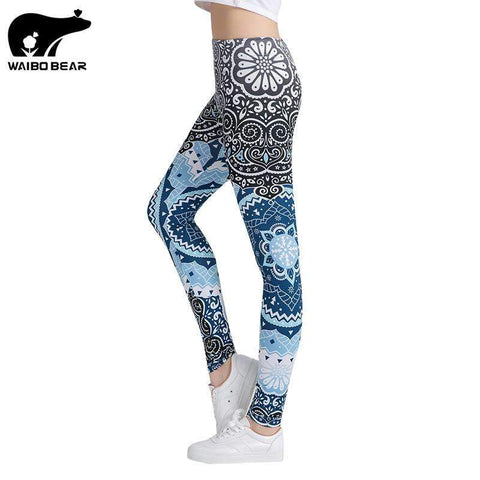Aztec Round Printed Leggings - Ultimate Yoga Bliss, Yoga Leggings, Yoga Pants, Yoga Tops