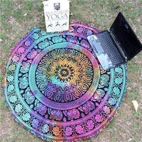 Beautiful High Quality Multicolor Round Yoga Blanket-Perfect for the Beach or Home - Ultimate Yoga Bliss, Yoga Leggings, Yoga Pants, Yoga Tops