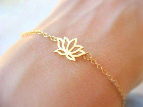 Ultimate Yoga Bliss:Beautiful Lotus Flower Charm Bracelet-Design and Fashion at its Best,18K Gold Plated,Yoga Leggings, Yoga Capri, Yoga Clothing, Yoga accessories