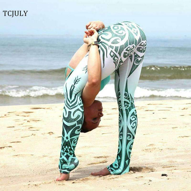 Blue And White Porcelain Printed Leggings - Ultimate Yoga Bliss, Yoga Leggings, Yoga Pants, Yoga Tops